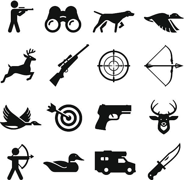 stockillustraties, clipart, cartoons en iconen met hunting icons - black series - gun shooting