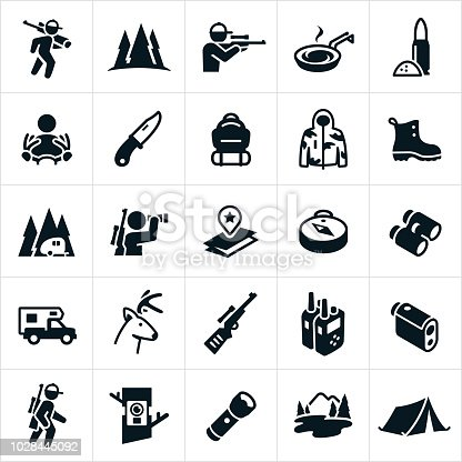A set of hunting icons particularly as they relate to deer hunting. The set of icons include a deer hunter, deer hunter carrying a rifle, deer hunter shooting a rifle, bullets, rifle, deer, buck, gear, hunting pack, hunting boots, travel trailer, camping, binoculars, map, compass, camper, 2-way radios, range finder, trail camera, flashlight, mountains and tent.