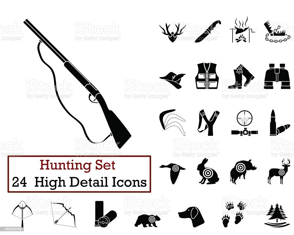 Hunting Icons vector art illustration