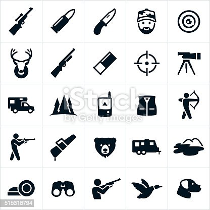 Icons related to the sport of hunting. The icons include big game and small game animals including a deer, bear, and dog. They also include rifles and ammunition including a shotgun and shotgun shell. The set of icons also include hunting equipment, clothing, and other related hunting items.