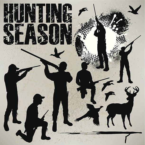 """Hunting Season - Duck, Deer and Phesant Hunters Graphic silhouette illustrations of Duck and Pheasant Hunters. Check out my """"Flaming Sports Balls and More"""" light box. bird hunting stock illustrations"""