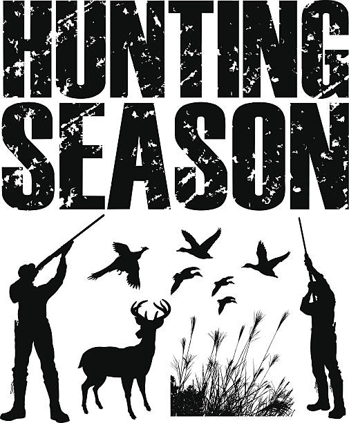 Hunting Season - Duck, Pheasant, Deer, Hunter Graphic silhouette illustrations of Duck, Deer and Pheasant Hunters with the words
