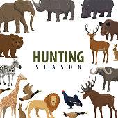 Hunting sport season poster of wild animal and bird. Duck, bear and deer, african elephant, lion and giraffe, rhino, hippo and bull, reindeer, zebra and elk frame border for hunter club banner design