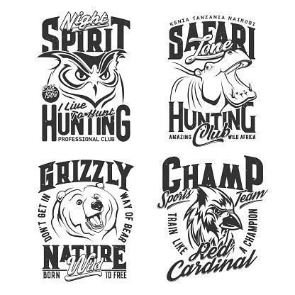 Hunting shirt prints, safari hunter and sport club