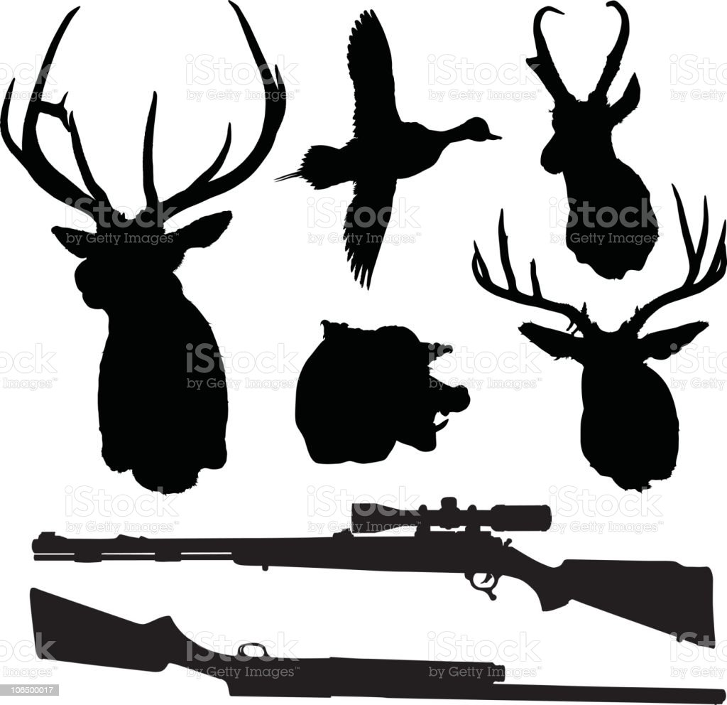Hunting Silhouette Set royalty-free stock vector art