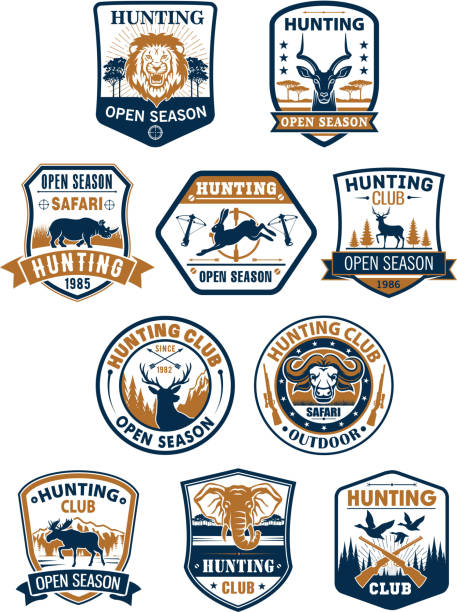 hunting sport club and african safari badge set - deer antlers stock illustrations, clip art, cartoons, & icons