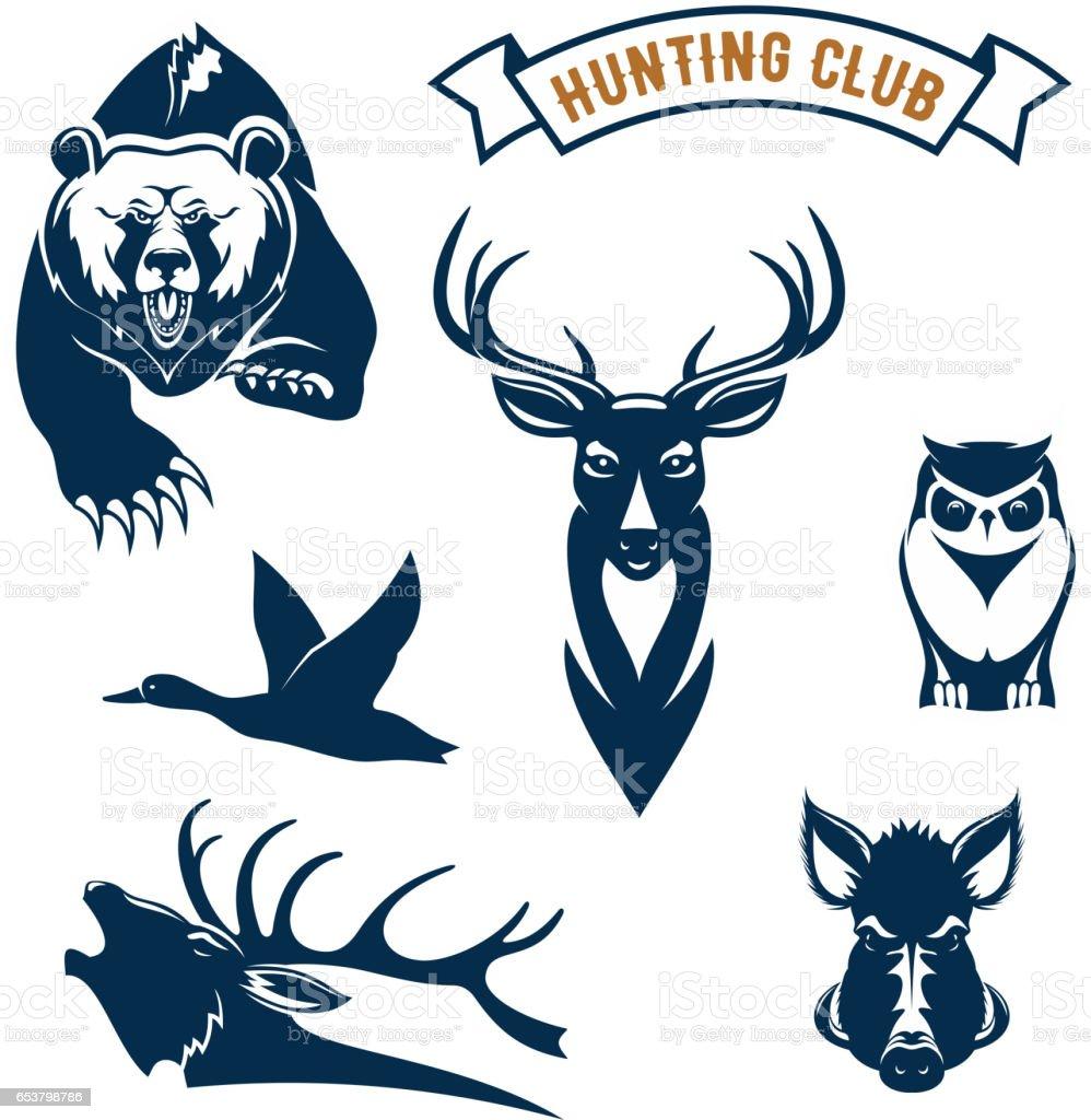 Hunting sport club vector animals icons vector art illustration