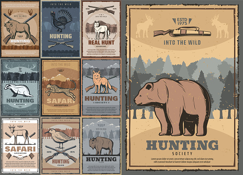 Hunting sport hunting club retro posters