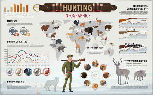 Hunting sport infographic with hunter and animals