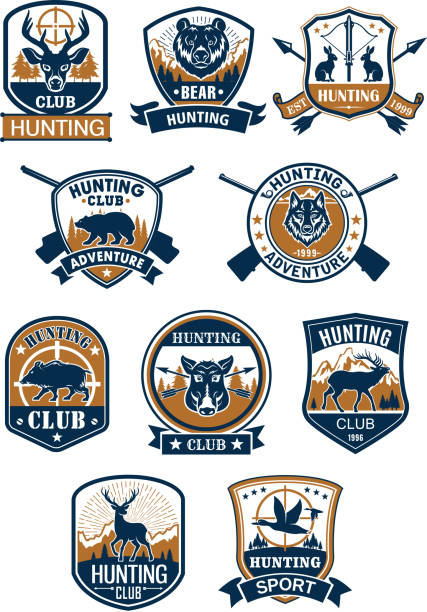 Hunting sport symbol and hunter club badge set Hunting sport symbol and hunter club membership badge set. Deer, duck, boar, bear, wolf, elk, hare, hog wild animals with rifle, target sign and arrows, framed by heraldic shield and round seal water bird stock illustrations