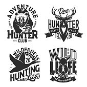 Hunting sport t-shirt prints, isolated vector monochrome icons. Wild animals chase t-shirt print templates. Hunting outdoor adventure deer antlers, grizzly bear, boar and flying duck