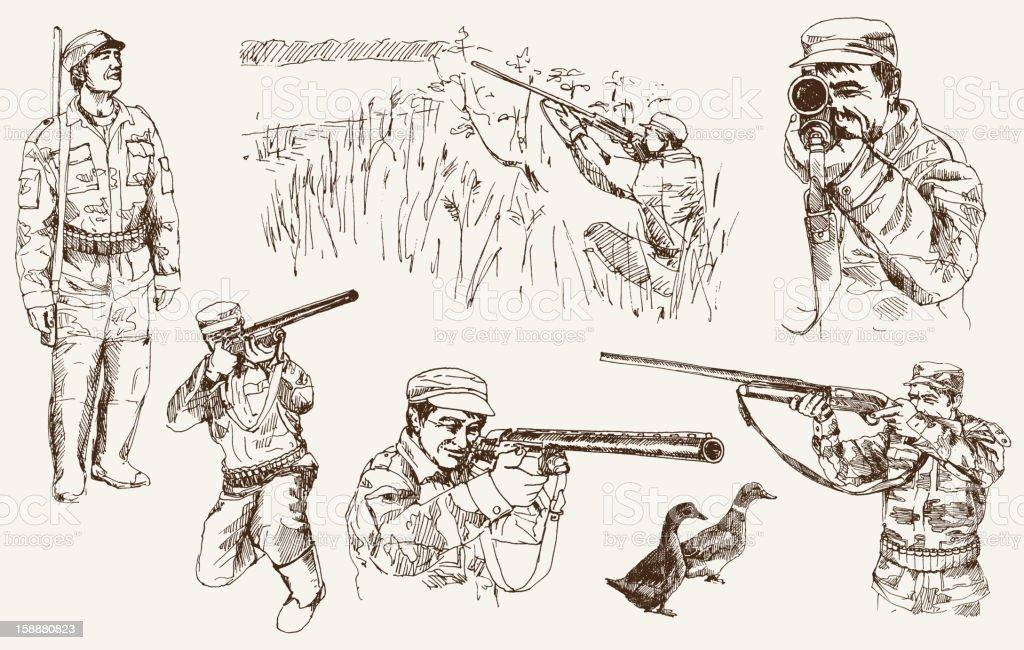 hunting vector art illustration