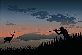 Deer (or elk) hunting at daybreak.