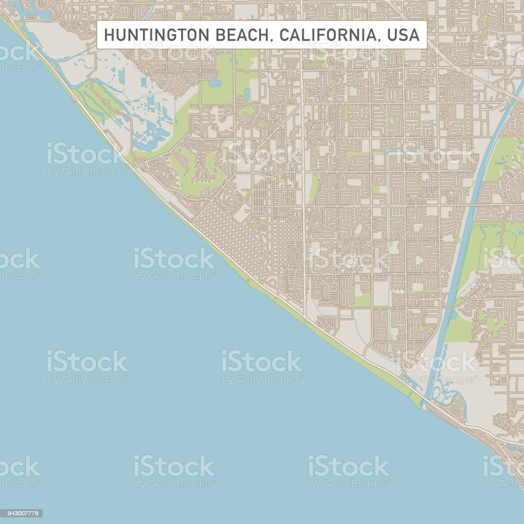 Huntington Beach California Us City Street Map Stock Vector Art