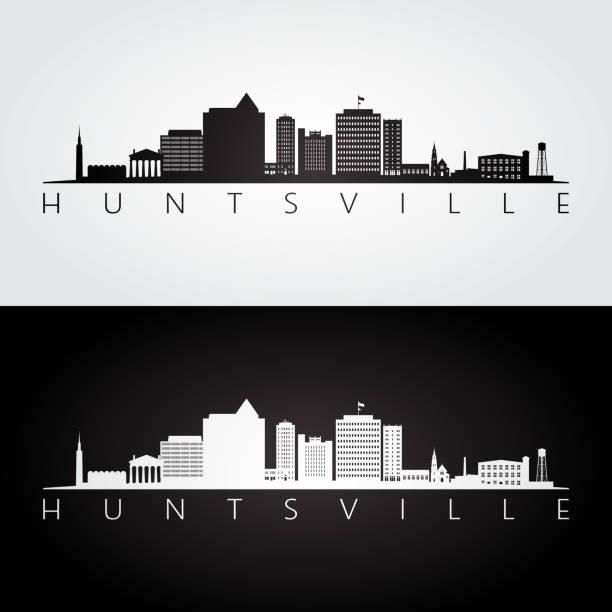 huntsville, panorama alabamy i sylwetka zabytków, czarno-biały design, ilustracja wektorowa. - alabama stock illustrations