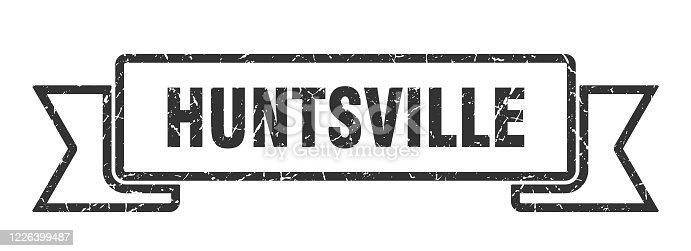Huntsville ribbon. Black Huntsville grunge band sign