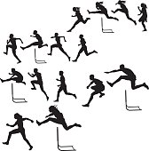 """Tight graphic silhouette illustrations of a track and field hurdlers, male and female. Scale to any size. Check out my """"Fitness, Exercise & Running"""" light box for more."""