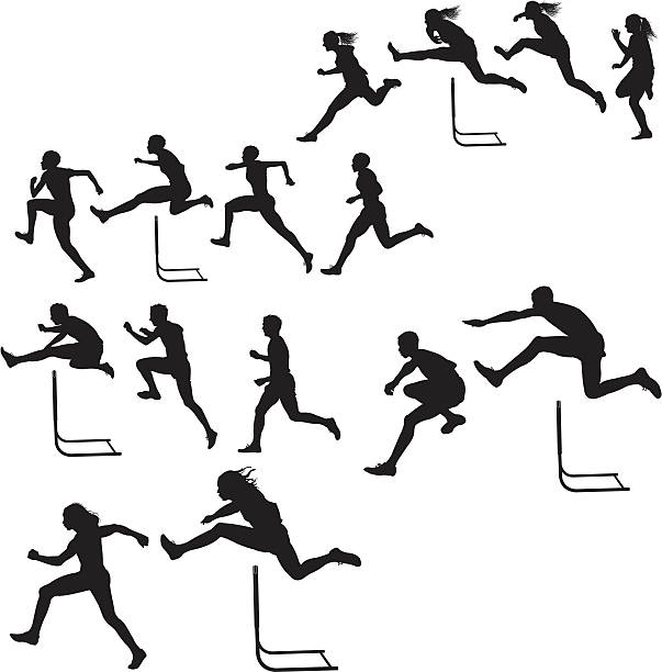 """Hurdlers - Male & Female Race, Track Meet Tight graphic silhouette illustrations of a track and field hurdlers, male and female. Scale to any size. Check out my """"Fitness, Exercise & Running"""" light box for more. jumping stock illustrations"""