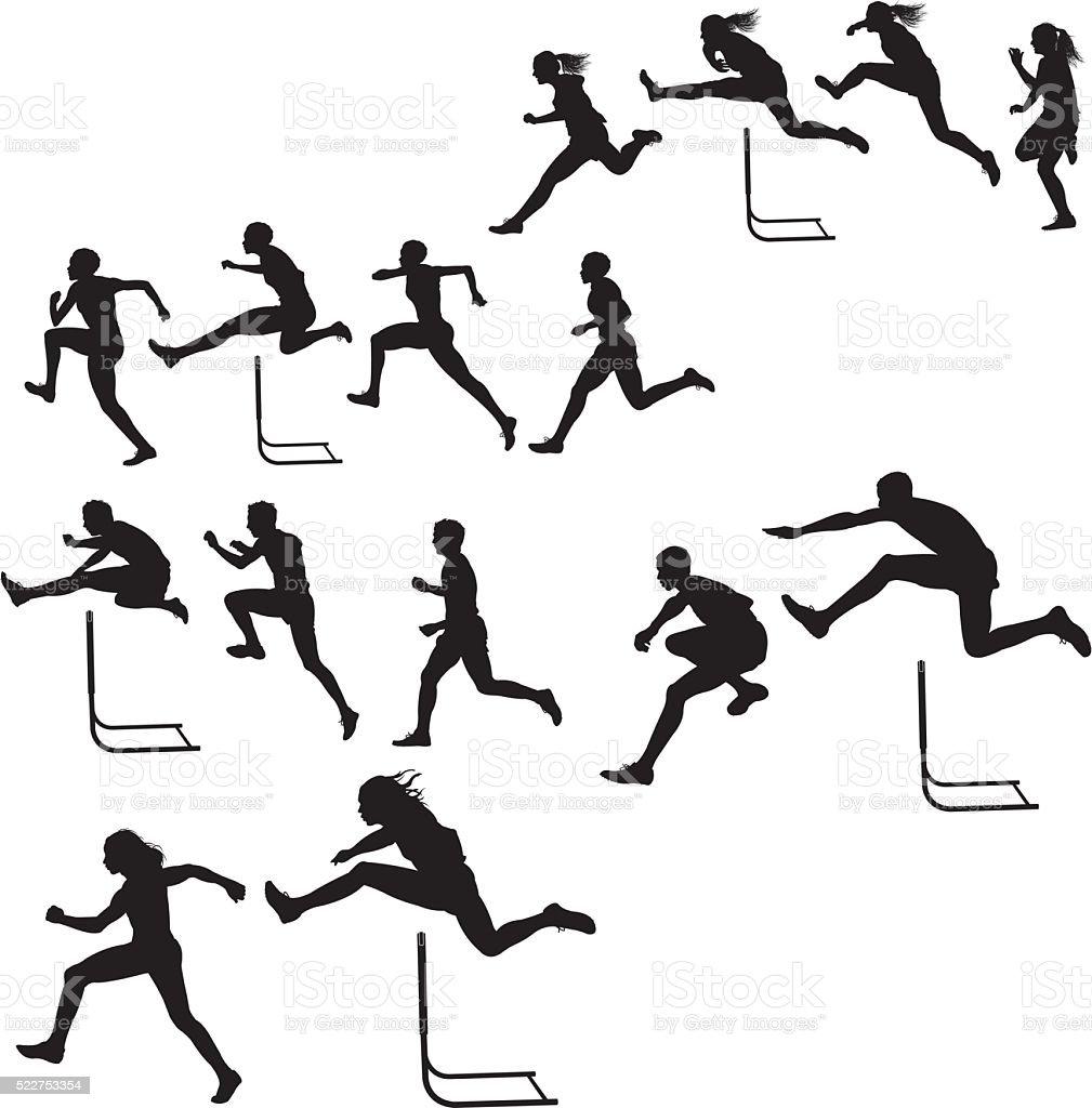 Hurdlers &  hembra-macho de raza, pista cumplir - ilustración de arte vectorial