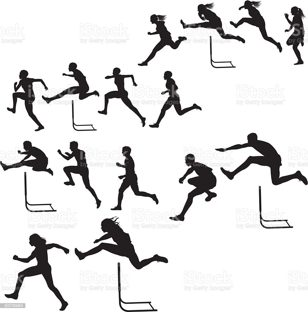 Hurdlers - Male & Female Race, Track Meet vector art illustration