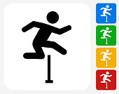 Hurdles Icon. This 100% royalty free vector illustration features the main icon pictured in black inside a white square. The alternative color options in blue, green, yellow and red are on the right of the icon and are arranged in a vertical column.