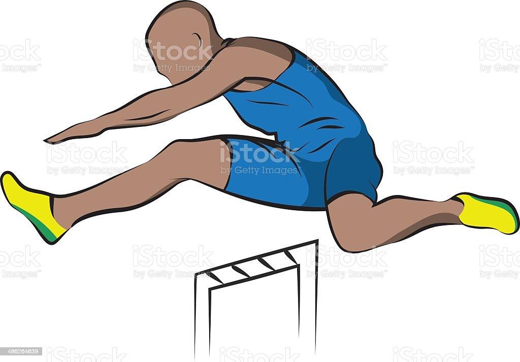Hurdles, illustration. Line art. vector art illustration