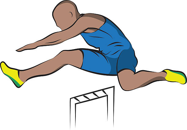 Hurdles, illustration. Line art. vector art illustration