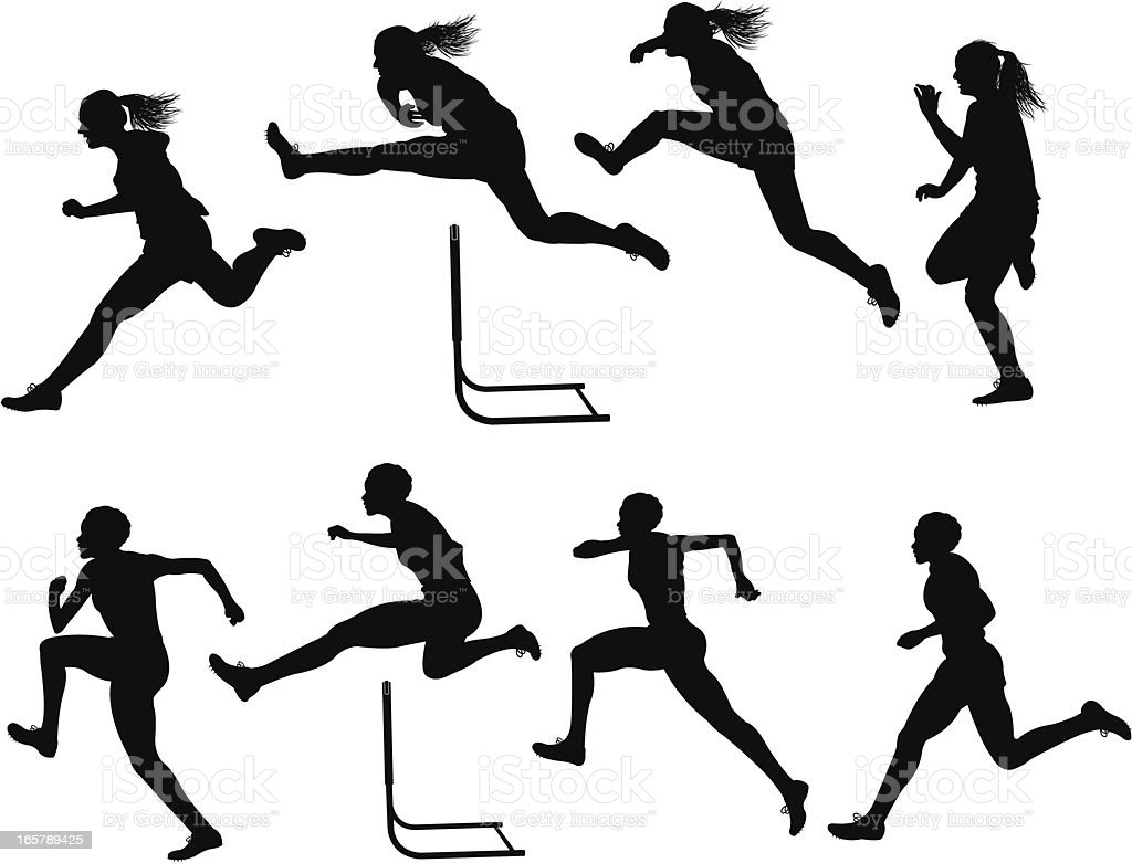 Hurdles Race - Track Meet, Female royalty-free hurdles race track meet female stock vector art & more images of activity