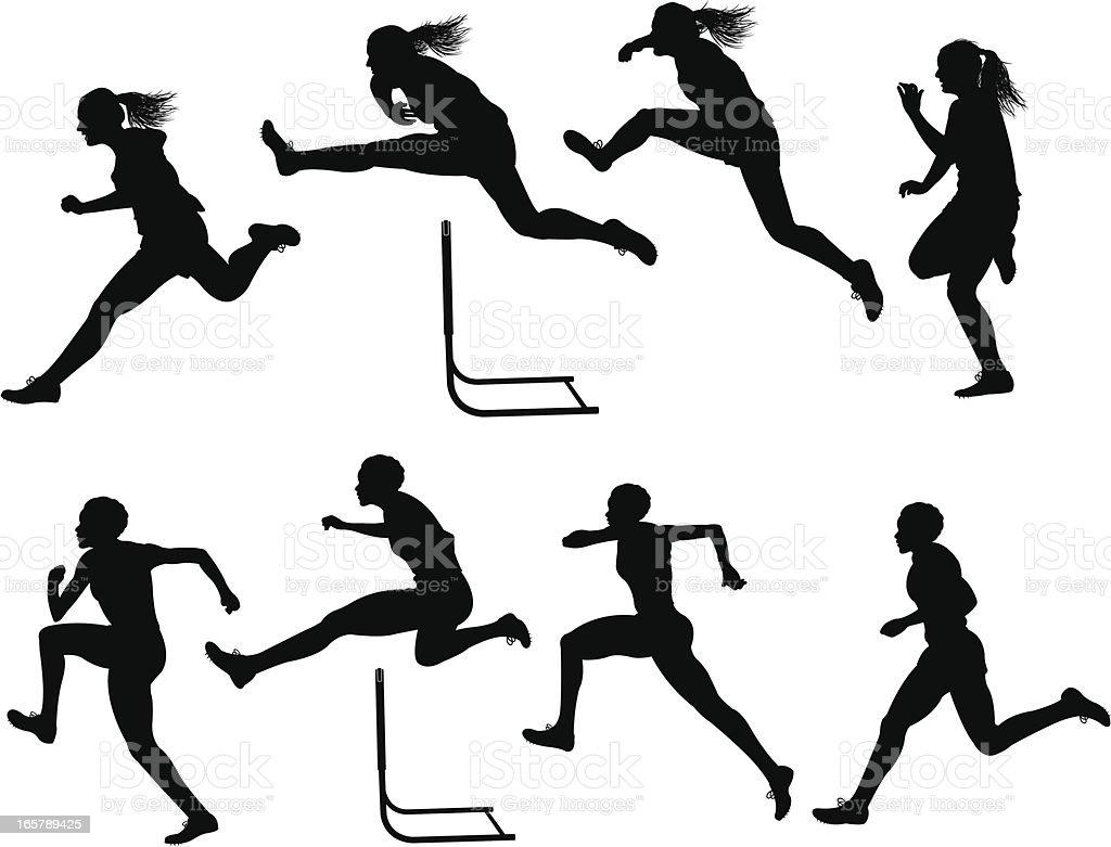 Hurdles Race - Track Meet, Female vector art illustration