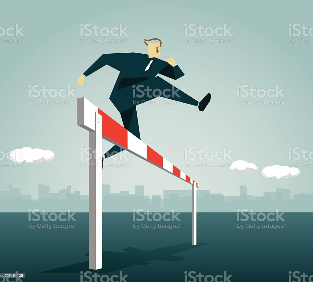 Hurdling,Conquering Adversity,  Strong,Race, Overcome, Goal, Fast,Victory vector art illustration