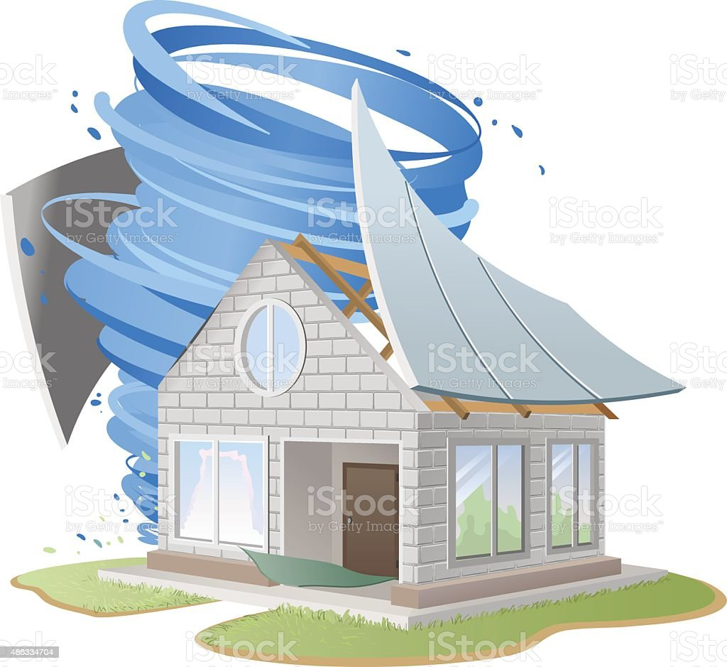 Hurricane destroyed roof of house vector art illustration
