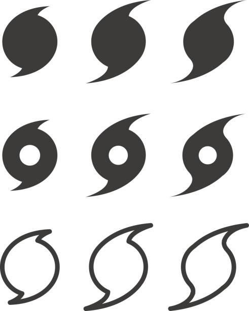 ilustraciones, imágenes clip art, dibujos animados e iconos de stock de símbolos planos de huracán, vector - hurricane
