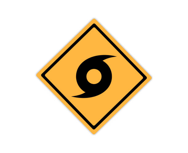 ilustraciones, imágenes clip art, dibujos animados e iconos de stock de símbolo de señal de carretera de huracán o ciclón - hurricane