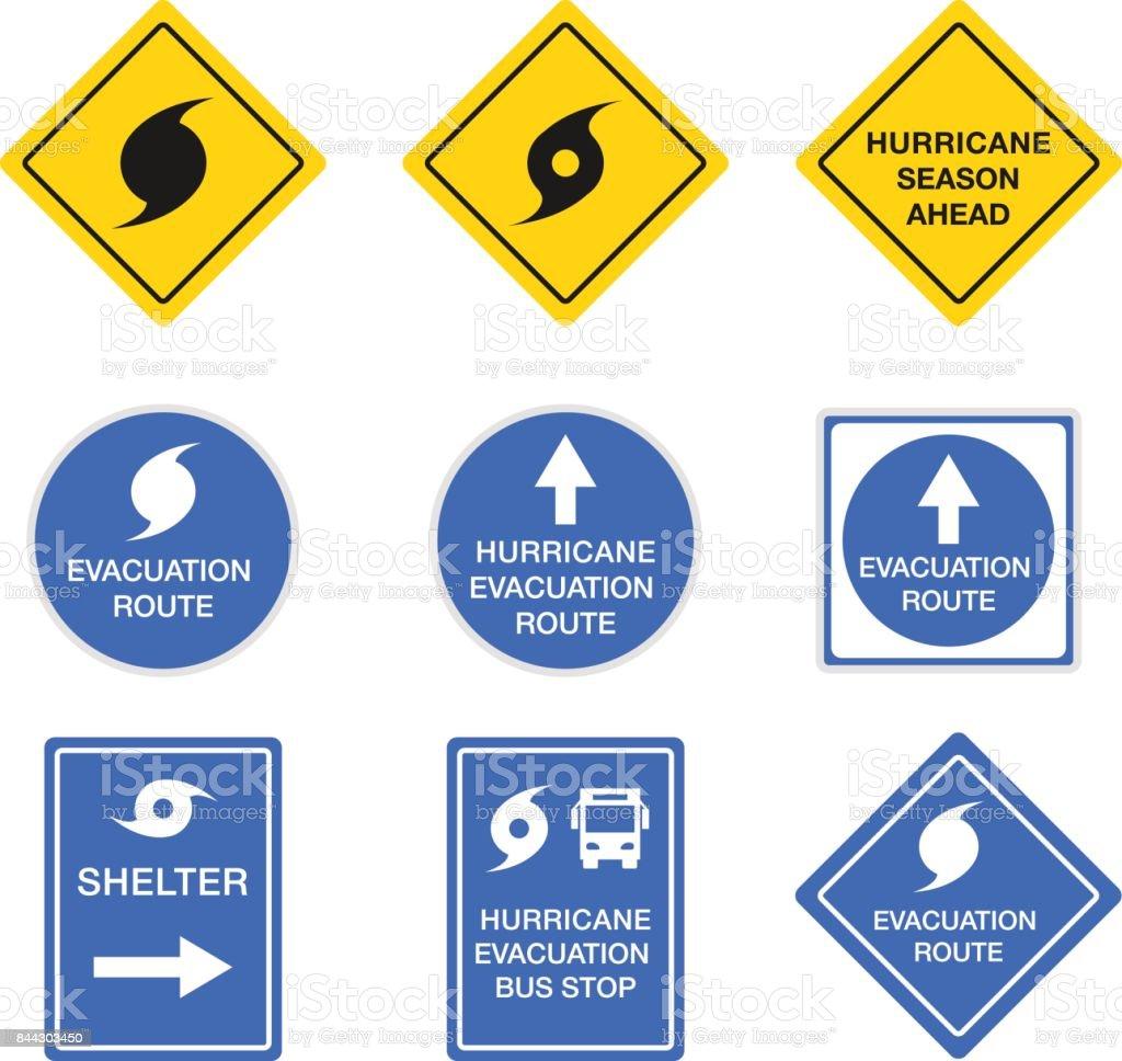 Hurricane Road Signs Danger Alert Vector Symbols Stock Vector Art