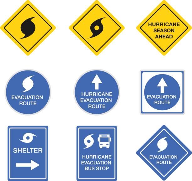 ilustraciones, imágenes clip art, dibujos animados e iconos de stock de huracán señales, símbolos de vectores alerta de peligro - hurricane