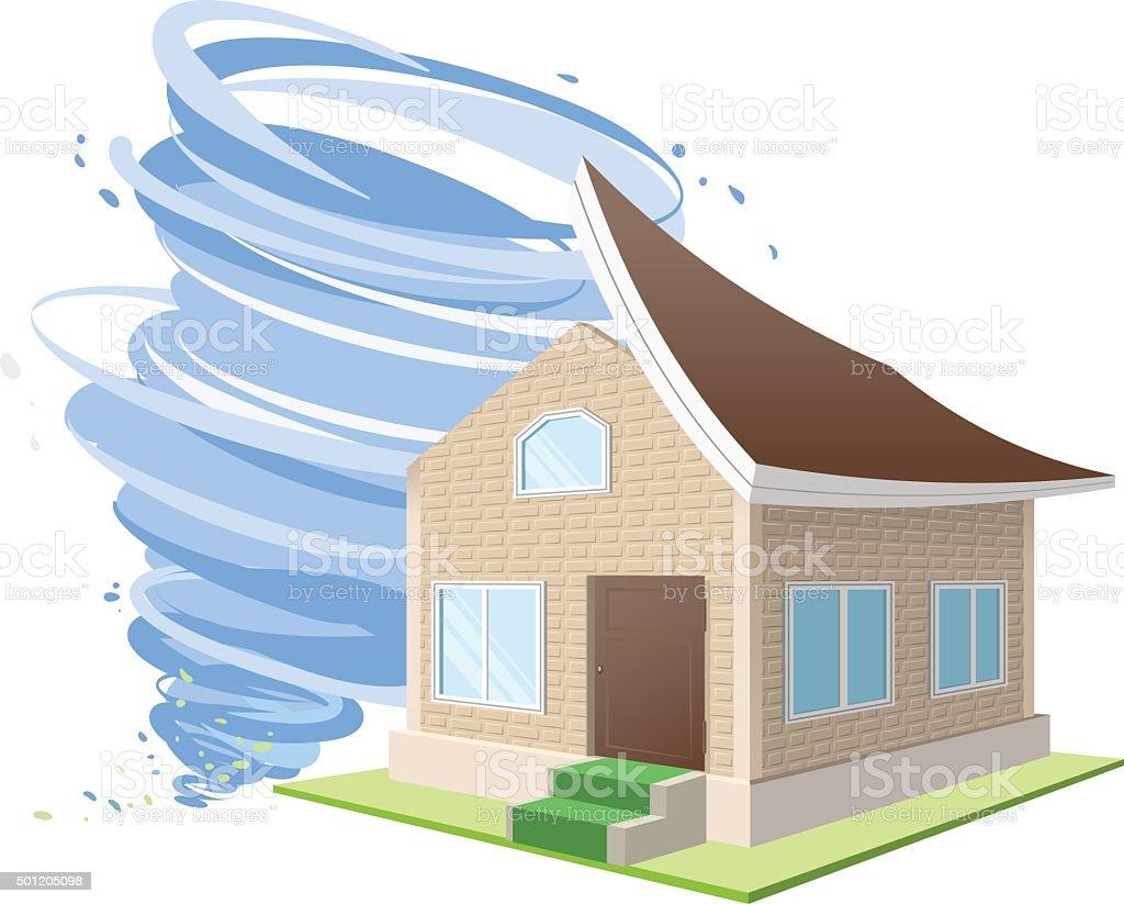 Nice Hurrikan Winde Warf Auf Haus Dach. Versicherungen Für Geschäftliches  Eigentu Lizenzfreies Hurrikan Winde Warf Auf