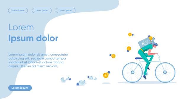 bildbanksillustrationer, clip art samt tecknat material och ikoner med skynda, idé förlust platt målsida vector mall - hemsida uppgiven