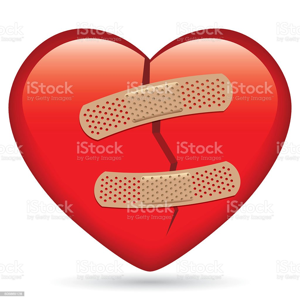Hurted heart vector art illustration