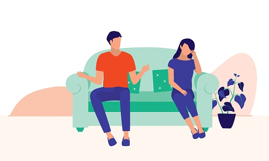 Husband And Wife Arguing. Marital Relationship And Social Issues Concept. Vector Flat Cartoon Illustration.