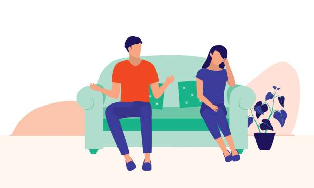 Husband And Wife Arguing. Marital Relationship And Social Issues Concept. Vector Flat Cartoon Illustration. Couple Having Fight. unhappy couple stock illustrations