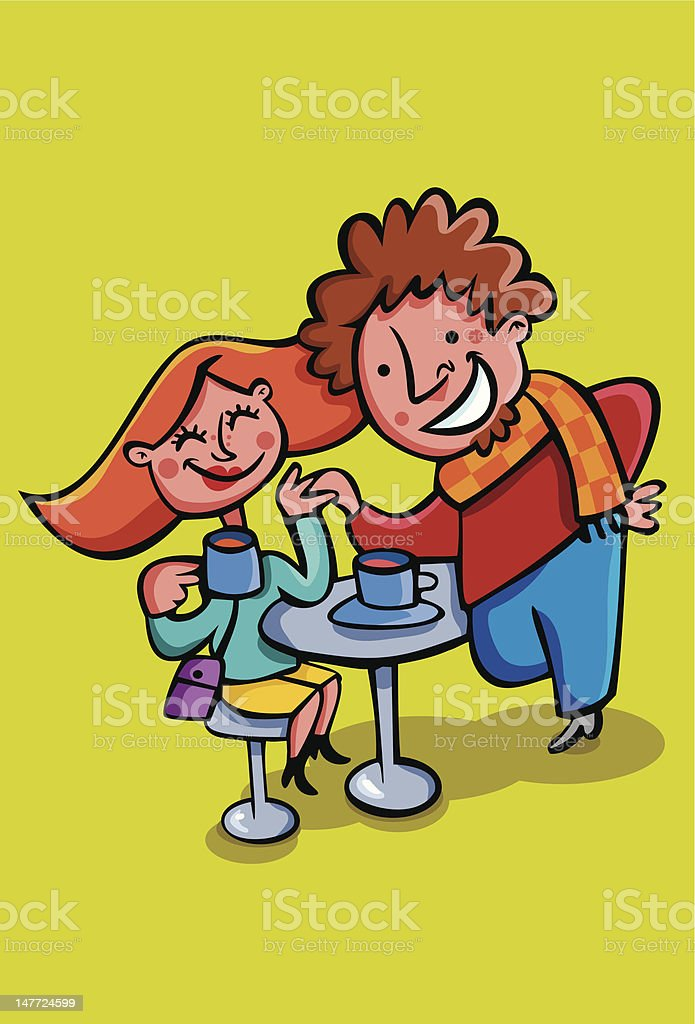 Husband and wife couple having coffee. vector art illustration