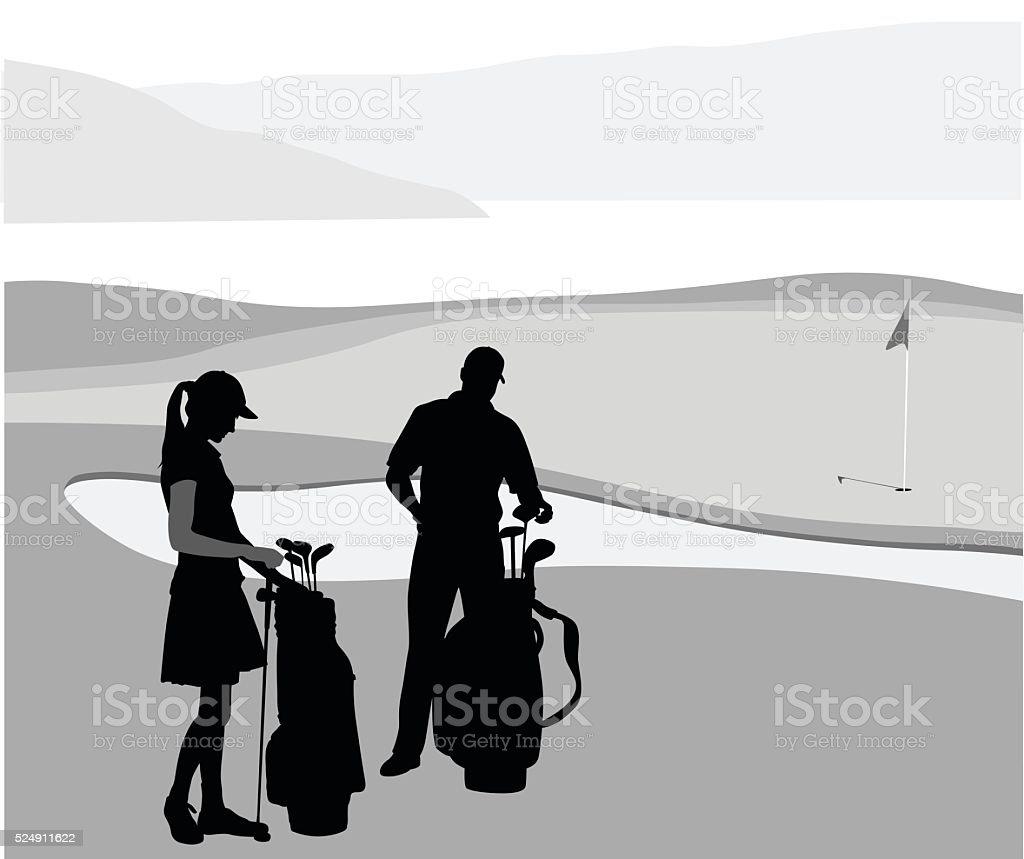 Mann und Frau Golf – Vektorgrafik
