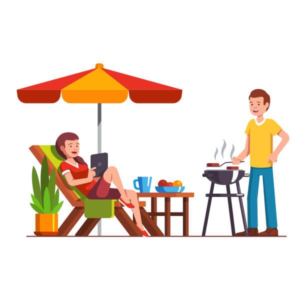 mann tut grill, frau liegend auf liege - gartensofa stock-grafiken, -clipart, -cartoons und -symbole