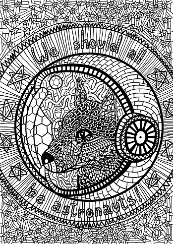 Husky dog astronaut coloring book page