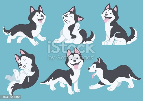vector of husky dog cartoon set