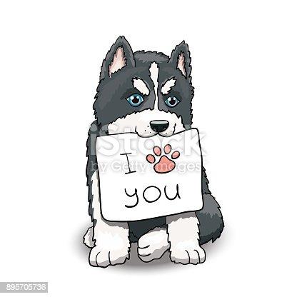 Ilustración de Cachorro Husky Con I Love You Signo Ilustración De ...