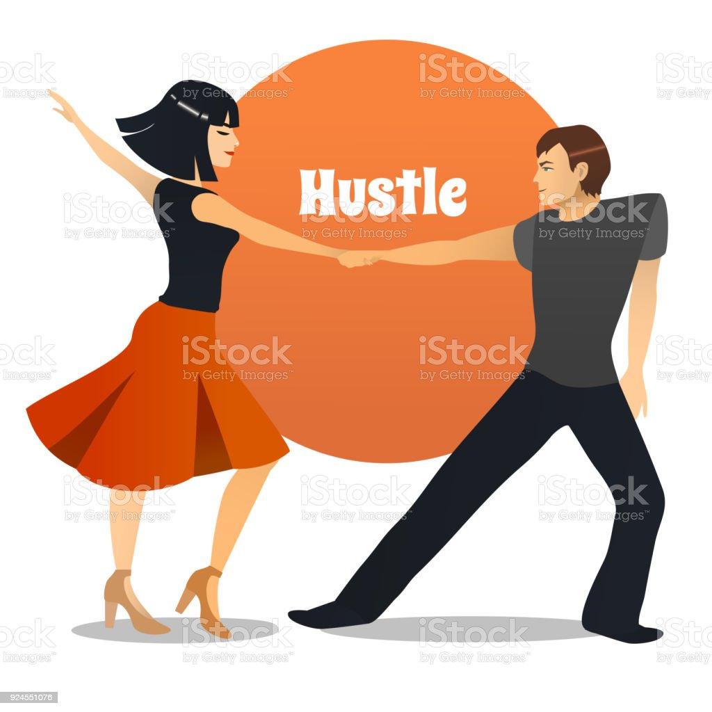Hustle Tanzpaar Im Cartoonstil Stock Vektor Art und mehr Bilder von ...