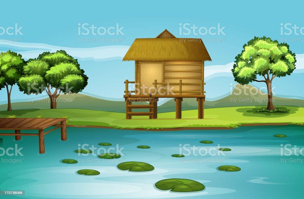Hut at the riverbank royalty-free stock vector art