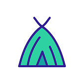 Hut icon vector. Thin line sign. Isolated contour symbol illustration