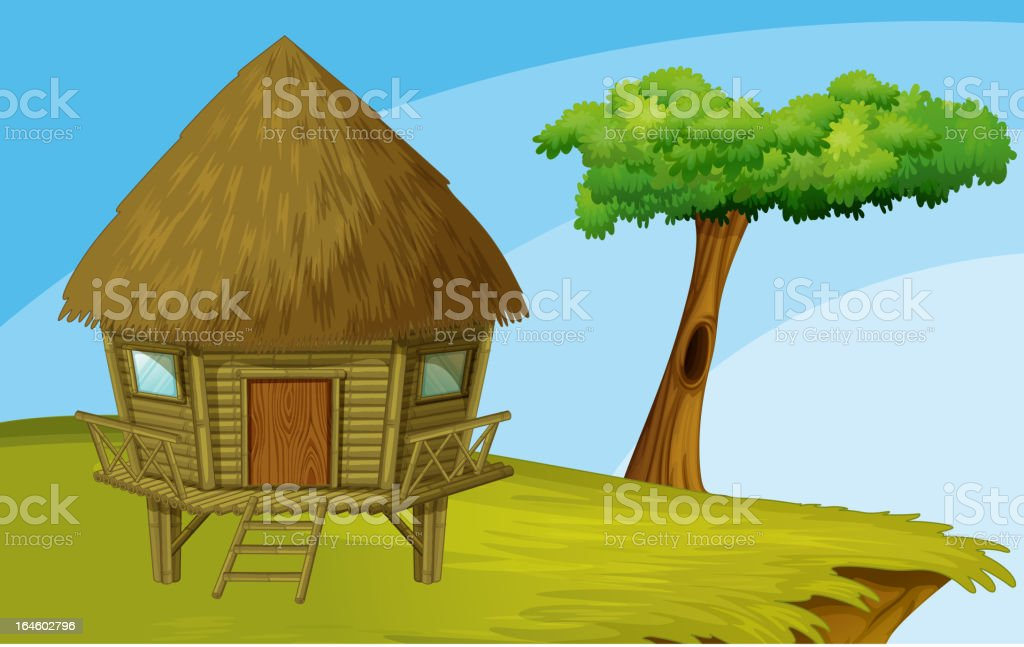 Hut on a cliff royalty-free stock vector art